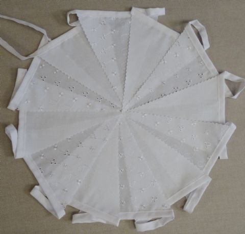 BUNTING - Plain White and Broderie Anglaise on White Tape - 3m/10ft, 5m/16ft or 10m/32ft